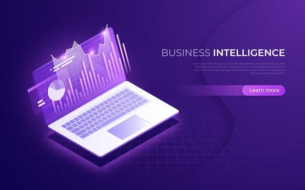 비즈니스 인텔리전스, 재무 성과, 데이터 분석 아이소 메트릭 개념. 프리미엄 벡터