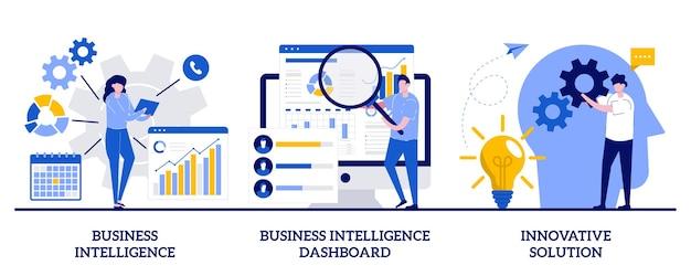 ビジネスインテリジェンス、インテリジェンスダッシュボード、小さな人々による革新的なソリューションコンセプト。パフォーマンスツールとソフトウェアソリューションセット。データ分析、kpi。 Premiumベクター