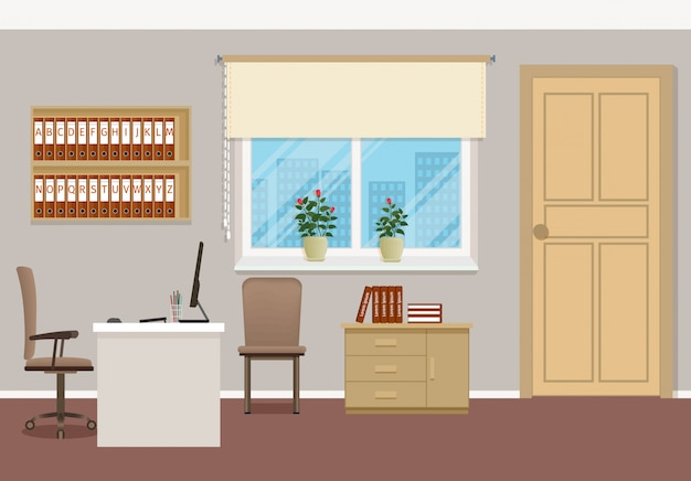 Business interior design with furniture and window. Premium Vector