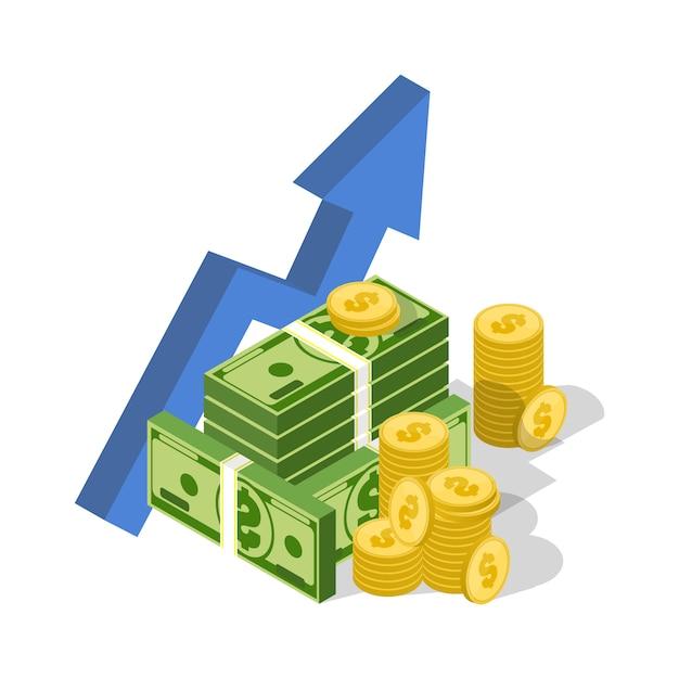 Business investiment isometric illustration Premium Vector