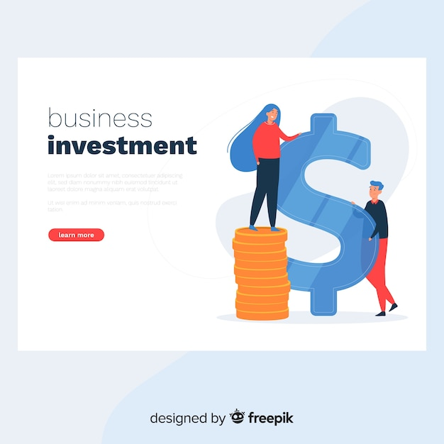 Business investment landing page Free Vector