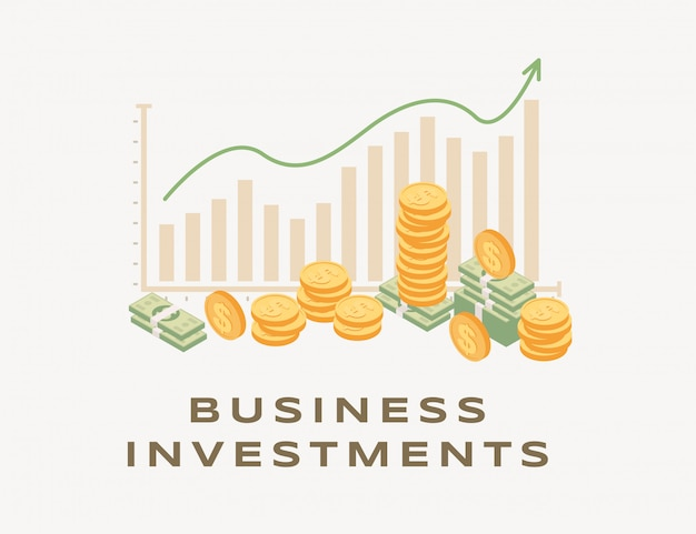 Business investment, rising graph illustration. growing bar graph and arrow, increasing income, successful business strategy, earning money. rio  financial analysis and cooperation Premium Vector