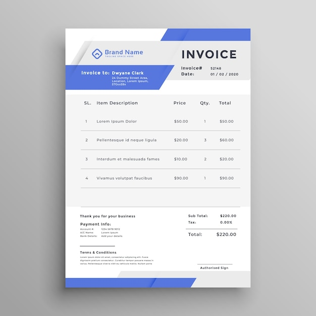 Business Invoice Template Vector Design Vector  Free Download