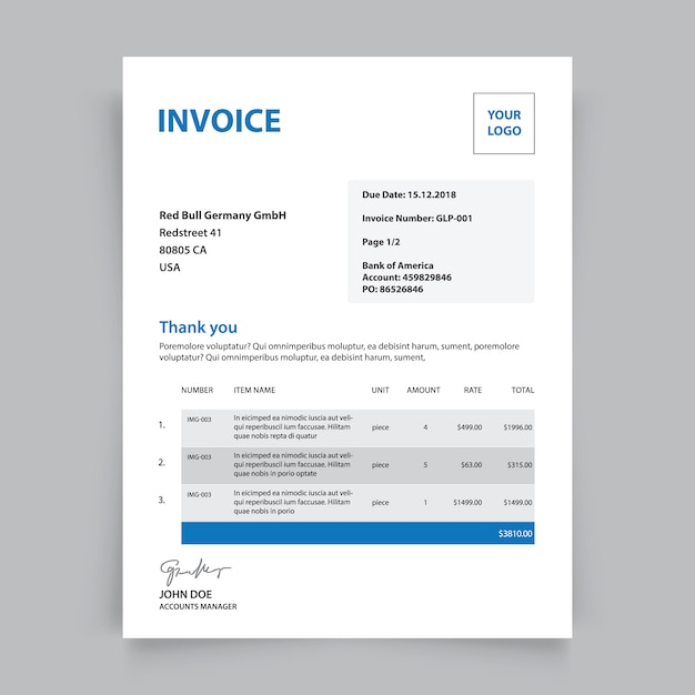 Business Invoice Template Vector Free Download - Template for invoice free download