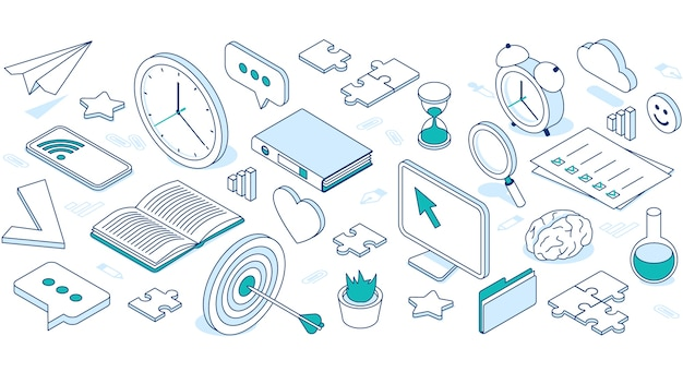 클라우드, 컴퓨터, 전화 및 시계와 비즈니스 아이소 메트릭 아이콘. 무료 벡터