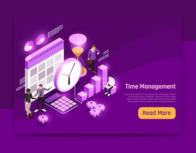 Business isometric page design with time management symbols  illustration Free Vector