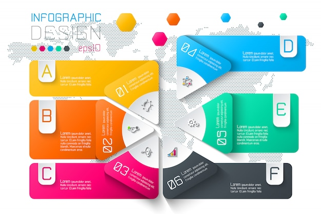 Business labels infographic on two layers circles bar. Premium Vector