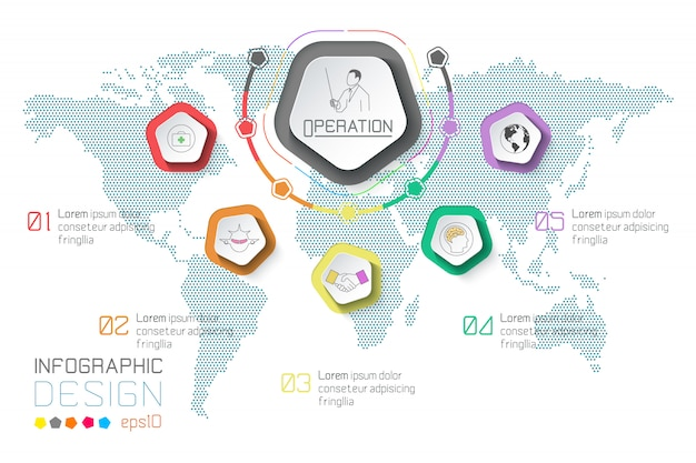 Business labels infographic on world map background. Premium Vector