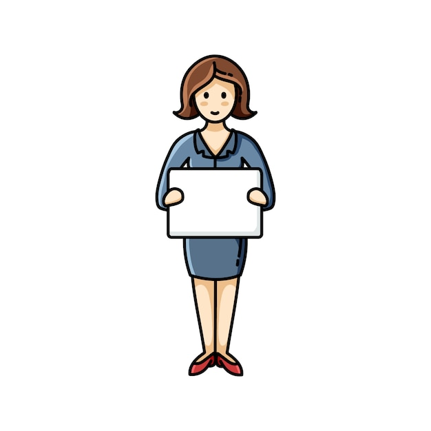 Business lady holding a white sheet of paper. infographic element. vector character Premium Vector
