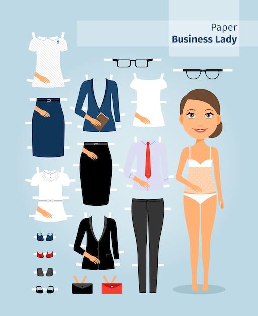 Бумажная кукла бизнес-леди. милая девушка в офисной одежде. установите для куклы деловую одежду на крой. векторная иллюстрация Бесплатные векторы