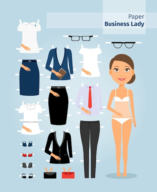 Business lady paper doll. cute girl in office clothes. set the doll business clothing for cutting. vector illustration Free Vector