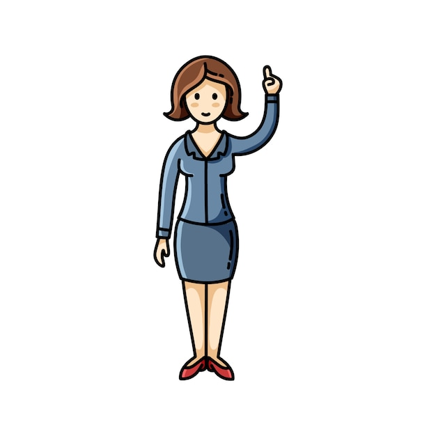 Business lady pointing her finger up pose Premium Vector