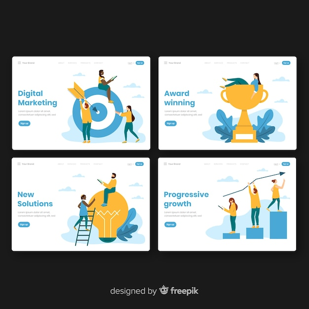 Business landing page collection Free Vector