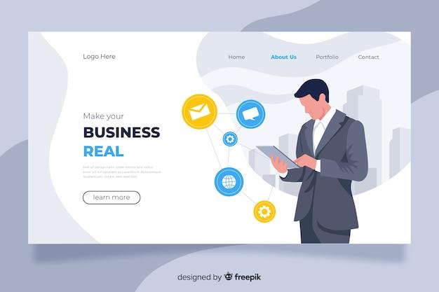 Business landing page concept Premium Vector