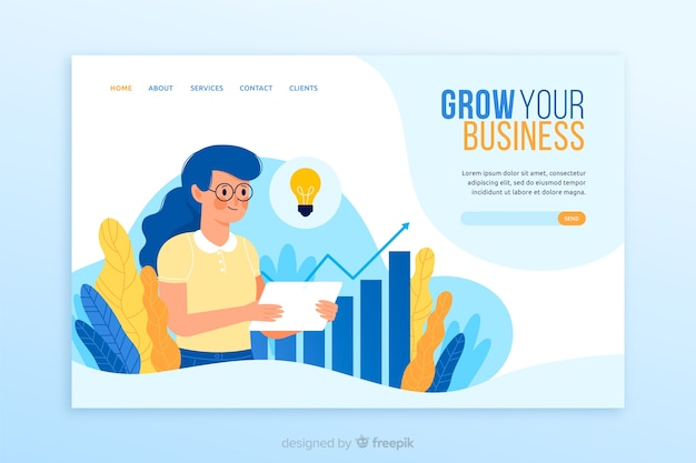 Business landing page design Free Vector