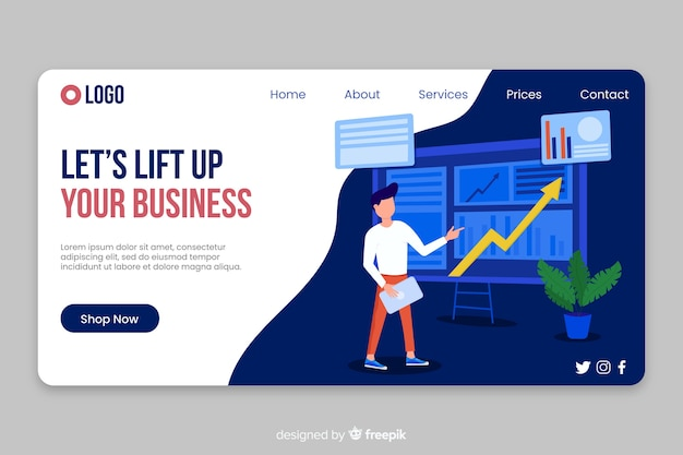Business landing page finances Free Vector