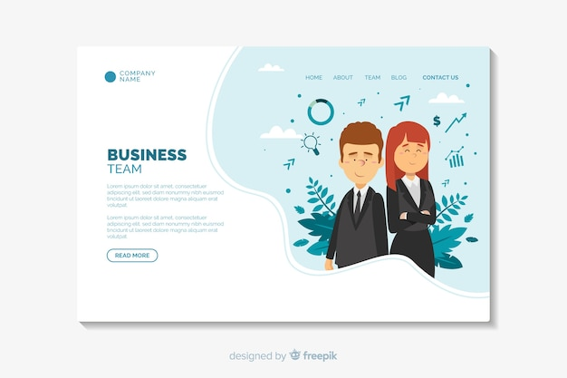 Business landing page flat design template Free Vector