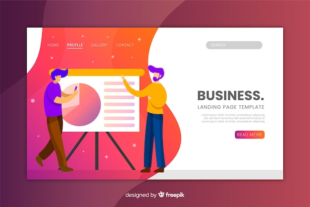 Business landing page flat design Free Vector