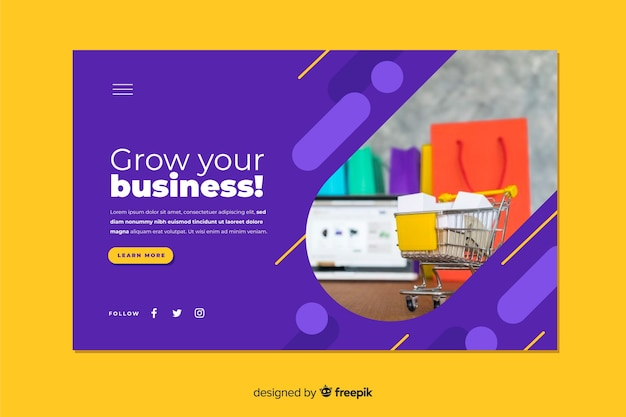 Business landing page including photo Free Vector
