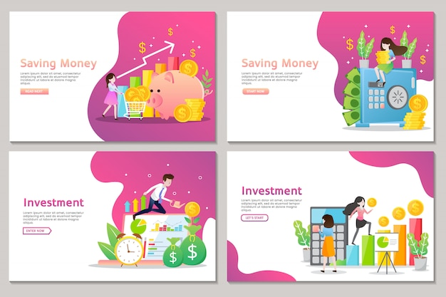Business landing page of investment and saving money with people Premium Vector