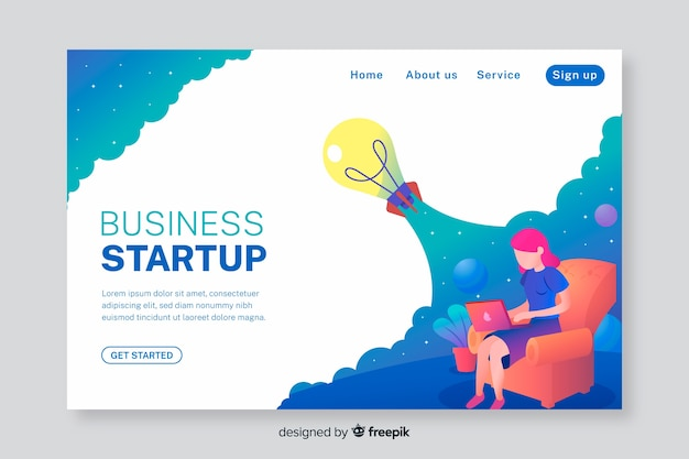 Business landing page for startup Free Vector