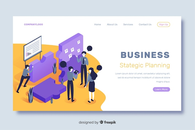 Business landing page strategic planning Free Vector