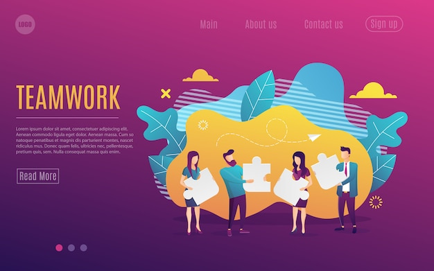 Business landing page. team metaphor. people connecting puzzle elements. flat design style. symbol of teamwork, cooperation, partnership.vector illustration Premium Vector