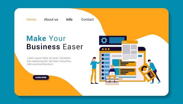 Business landing page template, flat design Premium Vector
