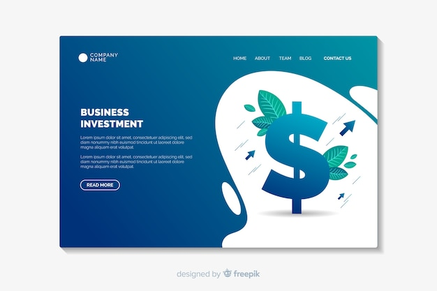 Business landing page template flat design Free Vector
