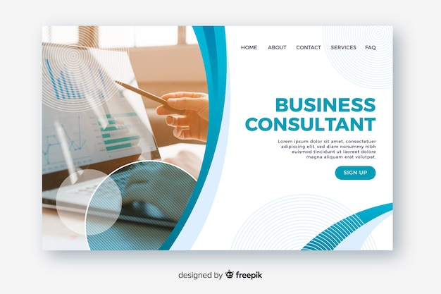 Business landing page template with photo Free Vector