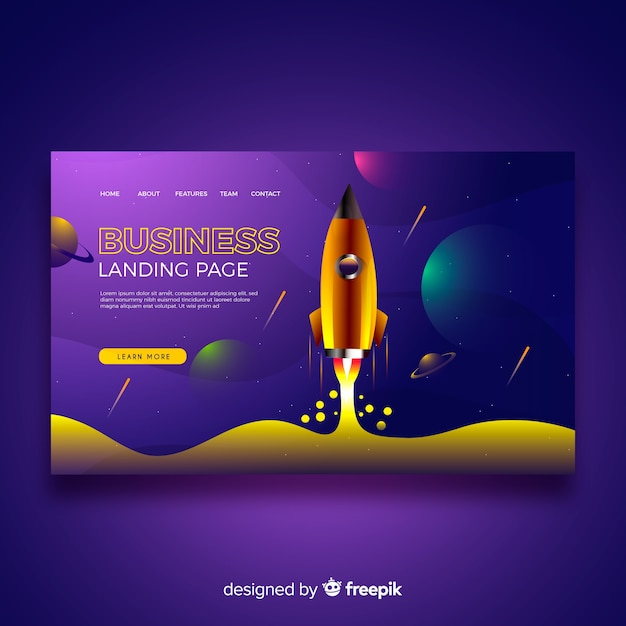 Business landing page template with rocket Free Vector