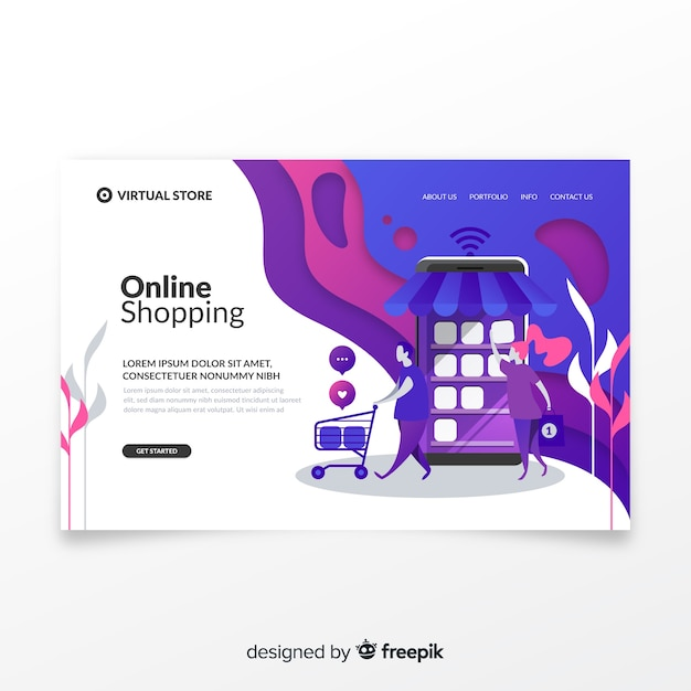 Business landing page template Free Vector