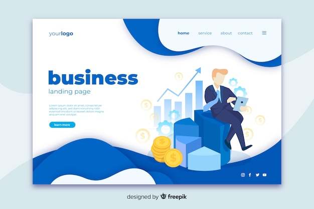 Business landing page web template Free Vector