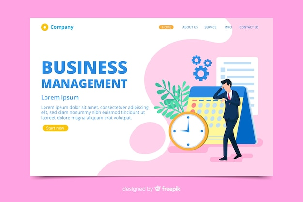 Business landing page with character Free Vector