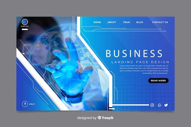 Business landing page with dark photo Free Vector