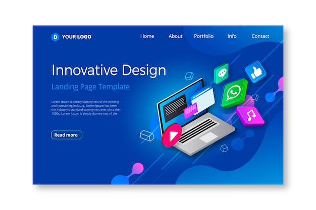 Business landing page with electronic device Free Vector