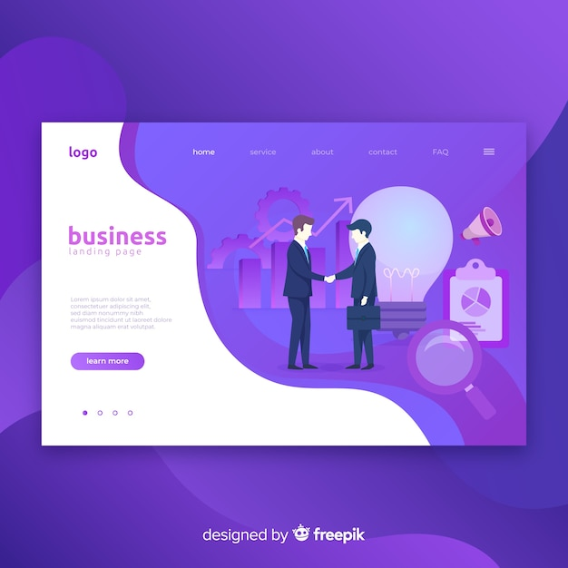 Business landing page with illustration Free Vector
