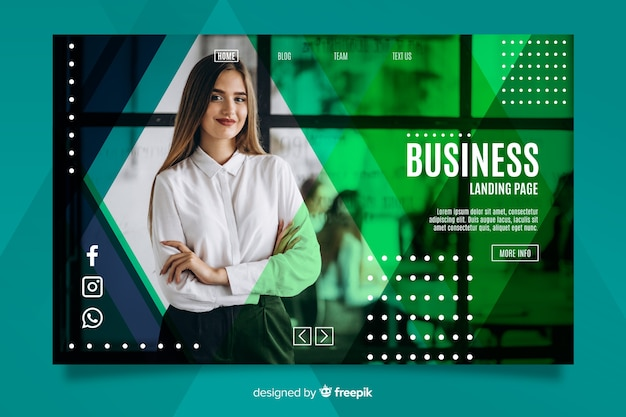 Business landing page with image Free Vector