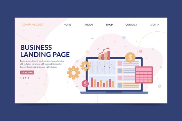 Business landing page with laptop Free Vector