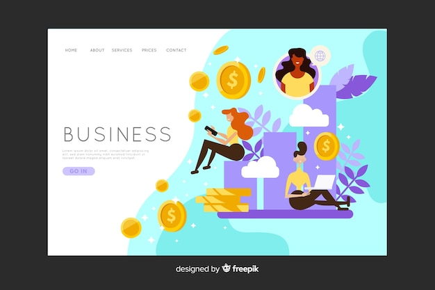 Business landing page with money coins Free Vector