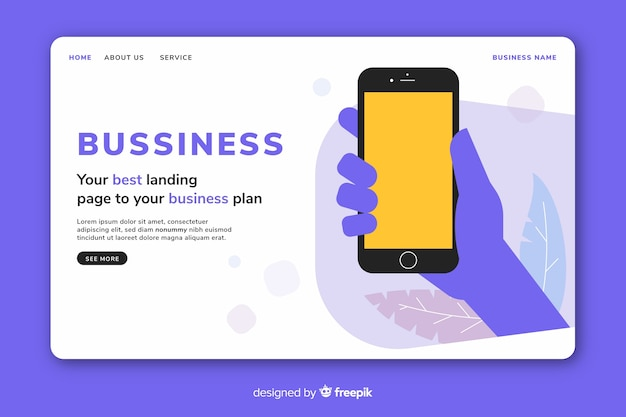 Business landing page with phone template Free Vector