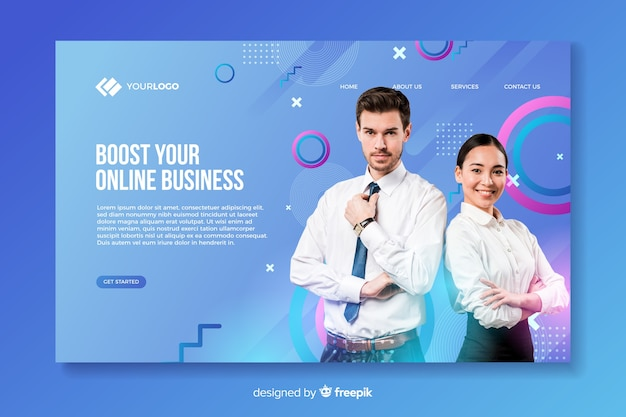Business landing page with photo with man and woman Free Vector