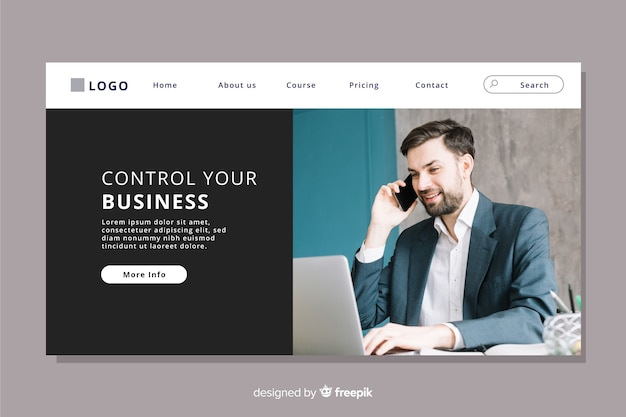 Business landing page with photo Free Vector