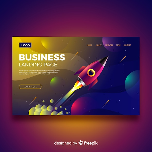 Business landing page with rocket Free Vector