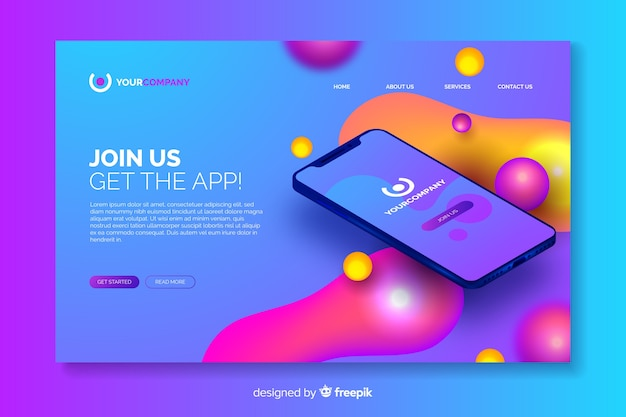 Business landing page with smartphone Free Vector