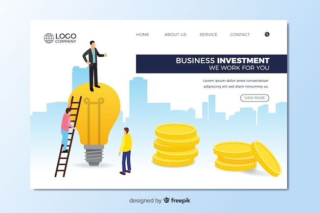 Business landing page Free Vector