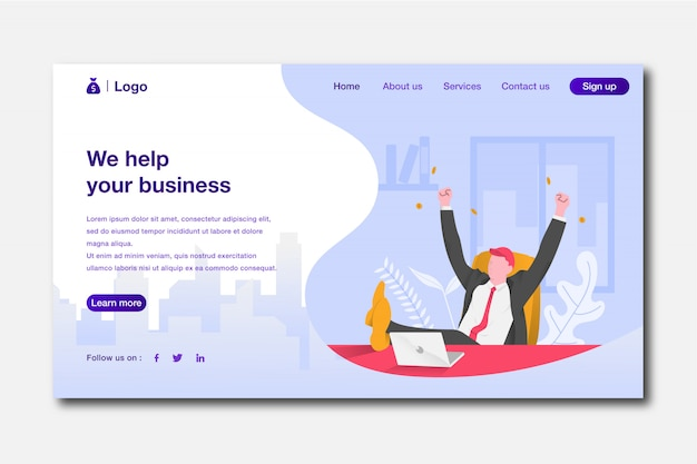Business landing page Premium Vector