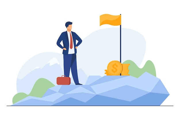 Business leader achieving goal. businessman standing on top, flag, heap of cash flat illustration. Free Vector