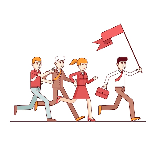 Business leader leading the way to his colleagues Free Vector