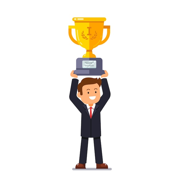 Business leader man holding winner golden cup Free Vector
